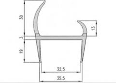 Garnitura etansare pvc 35x2700mm, gri