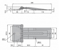 Articulatie usa laterala 60+186x69 Zn